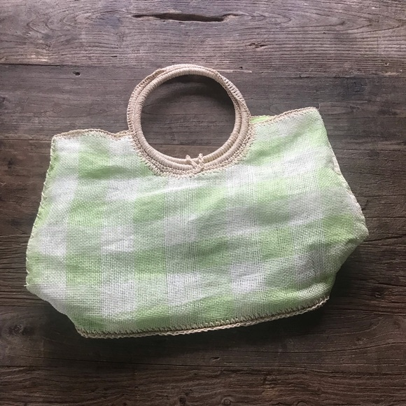 Life Is Good Handbags - SALE 3/$15 Life is Good Green White Woven Tote